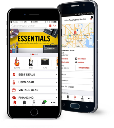 Phones advertising the Guitar Center App on iPhone and Android