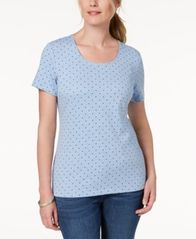 Image of Karen Scott Dot Print T-Shirt, Created for Macy's