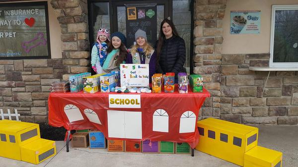 girl scout troupe selling cookies