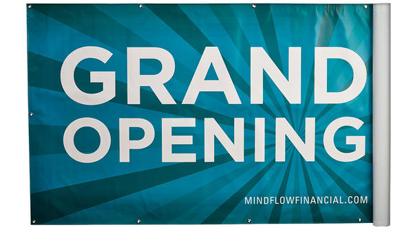 "blue outdoor banner that says ""grand opening"""
