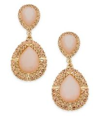 Image of INC International Concepts Gold-Tone Pink Stone & Pavé Drop Earrings, Created for Macy's