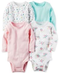 Image of Carter's 4-Pk. Ruffled-Neck Cotton Bodysuits, Baby Girls