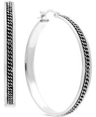 Image of Essentials Medium Braided-Look Hoop Earrings in Fine Silver Plate