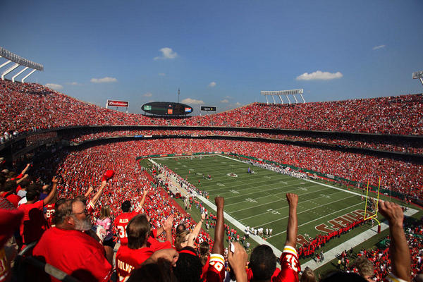 Football stadium all dressed in red