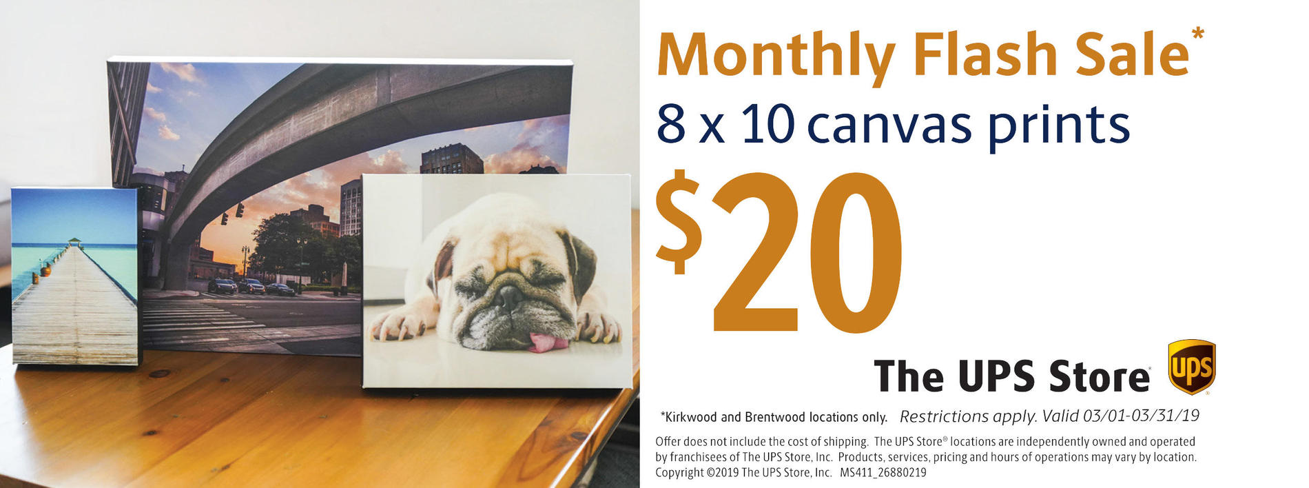 The UPS Store coupon for 8x10 canvas prints only $20