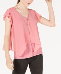 Image of BCX Juniors' Flutter-Sleeve Necklace Top