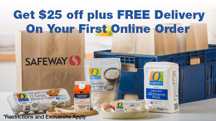 Safeway Grocery bags, delivery box and groceries such as eggs, flour and cream.