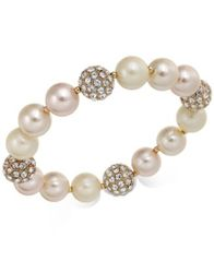 Image of Charter Club Rose Gold-Tone Pavé & Imitation Pearl Stretch Bracelet, Created for Macy's
