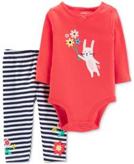Image of Carter's Baby Girls 2-Pc. Cotton Bunny Bodysuit & Striped Pants Set
