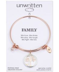 Image of Unwritten Family Tree Glass Shaker Charm Adjustable Bangle Bracelet in Rose Gold-Tone Stainless Stee