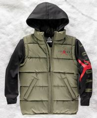 Image of Jordan Big Boys AJ Layered-Look Hooded Puffer Jacket