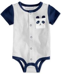 Image of First Impressions Striped Panda Cotton Snap-Up Bodysuit, Baby Boys (0-24 months), Created for Macy's