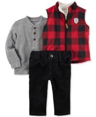 Image of Carter's 3-Pc. Plaid Vest, Henley Top & Pants Set, Baby Boys (0-24 months)