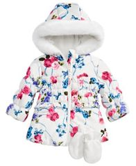 Image of S Rothschild & CO Baby Girls 2-Pc. Floral-Print Hooded Jacket & Fleece Mittens Set