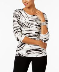 Image of JM Collection Printed Jacquard Top, Created for Macy's