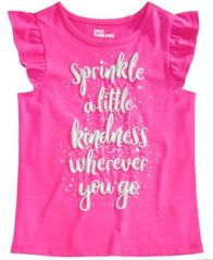 Image of Epic Threads Little Girls Flutter-Sleeve Graphic-Print T-Shirt, Created for Macy's