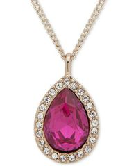 "Image of Givenchy Pavé & Stone Pear Pendant Necklace, 16"" + 3"" extender, Created for Macy's"
