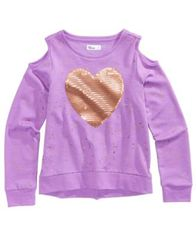 Image of Epic Threads Cold Shoulder Sequin-Heart Sweatshirt, Big Girls (7-16), Created for Macy's