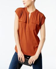 Image of INC International Concepts Mixed-Media Utility Shirt, Created for Macy's