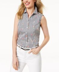 Image of Charter Club Sleeveless Print Shirt, Created for Macy's