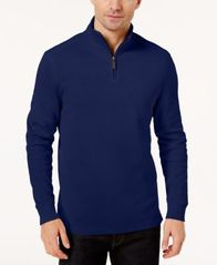 Image of Club Room Men's Quarter-Zip Ribbed Cotton Sweater, Created for Macy's