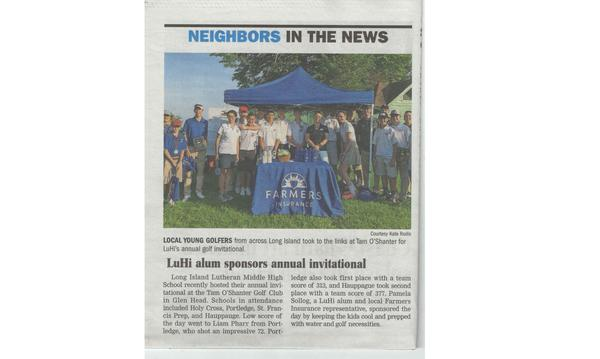 "Newspaper article that reads, ""Neighbors in the News: LuHi alum sponsors annual invitational."""