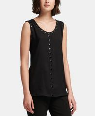 Image of DKNY Studded-Trim Sleeveless Top, Created for Macy's