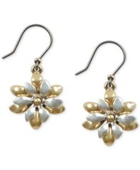 Image of Lucky Brand Two-Tone Flower Layered Drop Earrings