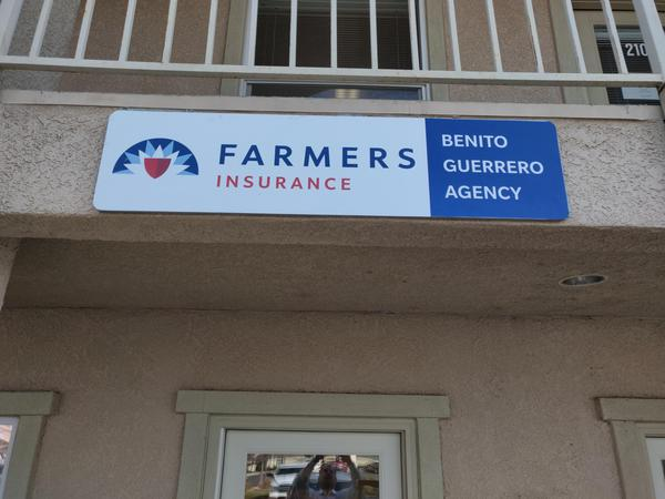 Outdoor signage for the Benito Guerrero Agency.