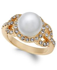 Image Of Charter Club Gold Tone Pavé U0026 Imitation Pearl Ring, Created For  Macyu0027s