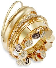 Image of Thalia Sodi Faux-Snakeskin Pavé Disc Bangle Bracelet Set, Created for Macy's
