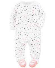Image of Carter's 1-Pc. Dot-Print Ballerina Footed Coverall, Baby Girls (0-24 months)
