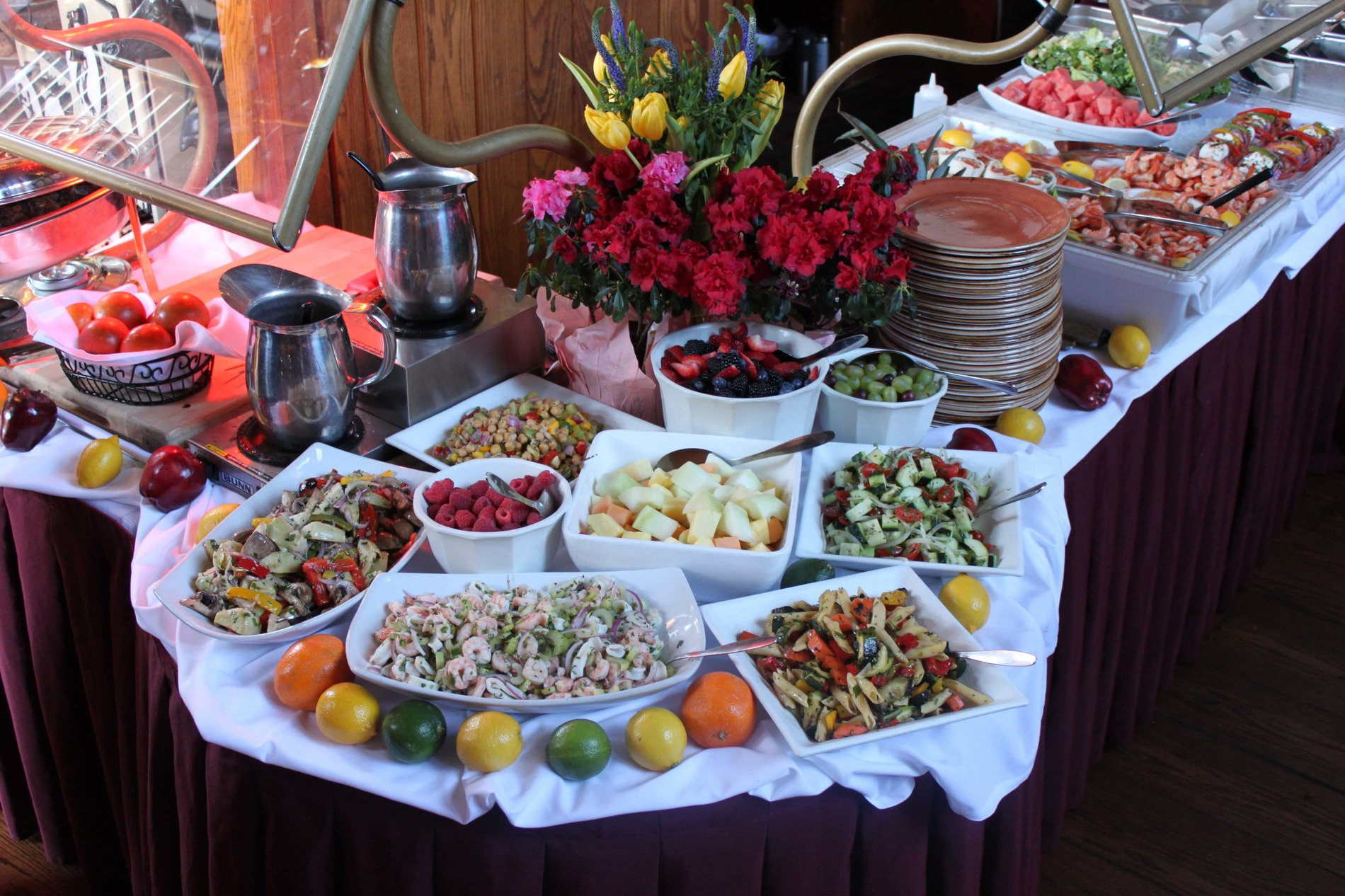 Buffet with various food