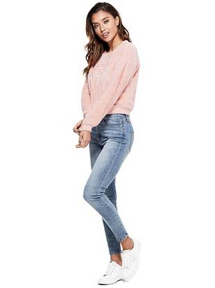 pink faux-fur sweatshirt guess factory