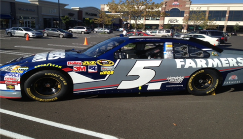 Farmers #5 Nascar driver Kasey Kahne's car visited at Cherry Hill Agency Point