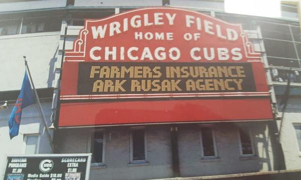 A sign of Wrigley Baseball Field in Chicago.