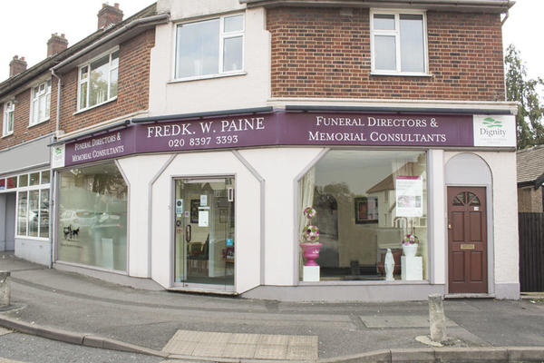 Frederick W Paine Funeral Directors in Chessington, Surrey.