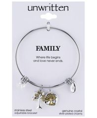 Image of Unwritten Two-Tone Family Tree Message Charm Bangle Bracelet in Stainless Steel