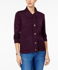 Image of Karen Scott Foldover-Collar Marled Cardigan, Created for Macy's