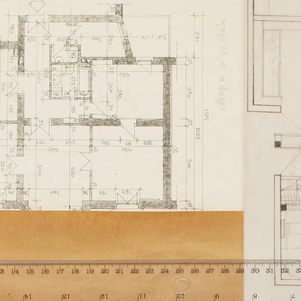 zoomed in view of a blueprint for an office