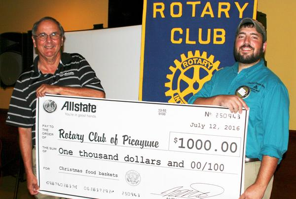John Pigott - Allstate Foundation Donates $1,000 to Picayune Rotary Club