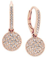 Image of Eliot Danori Rose Gold-Tone Pavé Disc Drop Earrings, Created for Macy's