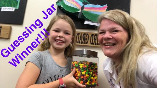 We sponsor a few local schools.  Here is a winner from our guessing jar!