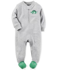 Image of Carter's 1-Pc. Stripes & Dinosaurs Footed Coverall, Baby Boys (0-24 months)