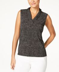Image of Anne Klein Printed Pleated V-Neck Top