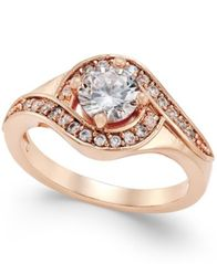 Image of Charter Club Rose Gold-Tone Crystal Solitaire Twist Ring, Created for Macy's