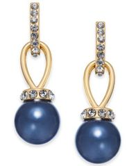 Image of Charter Club Gold-Tone Crystal & Colored Imitation Pearl Drop Earrings, Created for Macy's