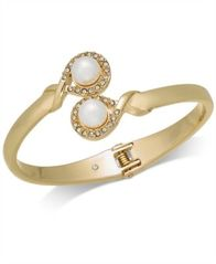 Image of Charter Club Gold-Tone Imitation Pearl & Pavé Bypass Hinged Bangle Bracelet, Created for Macy's