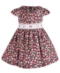 Image of Bonnie Baby Baby Girls Smocked Floral Dress
