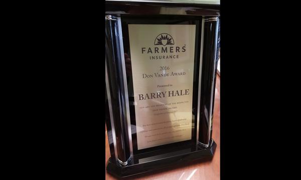 Hale Agency was honored and humbled to receive this first ever District 35 Don Vande Award!